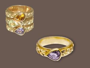 Ring of 18k gold, purple sapphire & diamond $1680.