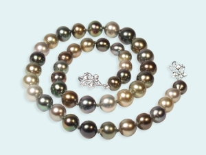 Tahitian Pearl and Diamond Necklace on 14k white gold
