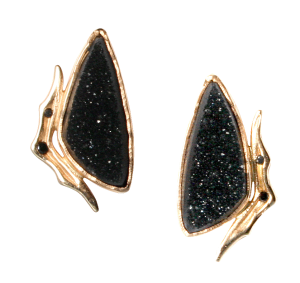 Black Diamonds and Drusy Agate Earrings