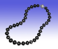 Tahitian Pearl strand necklace with 18 karat white gold and diamond.