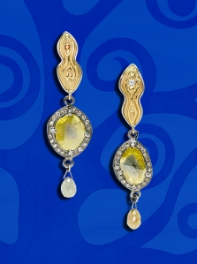 "Smoldering diamond slice earrings from Eve's newest design series ""Homage to Klimt."""